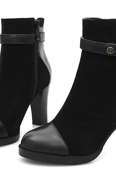 Stylish Side Zipper Buckle Thick High Heel Boots