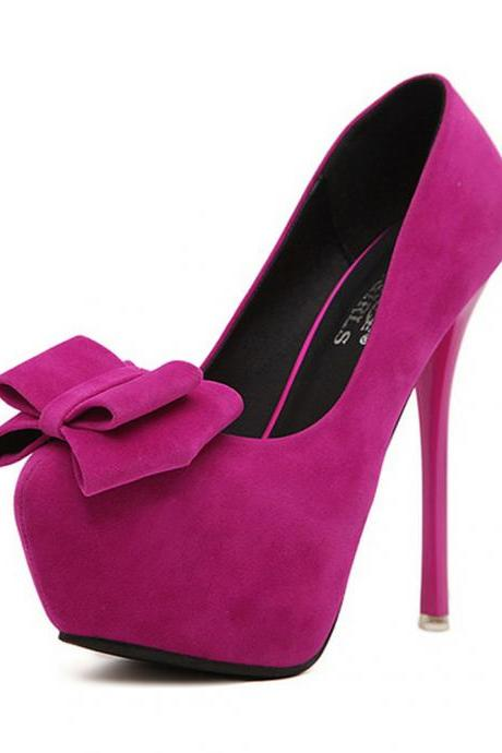 Women's Bowtie Faux Suede Peep Toe High Heels