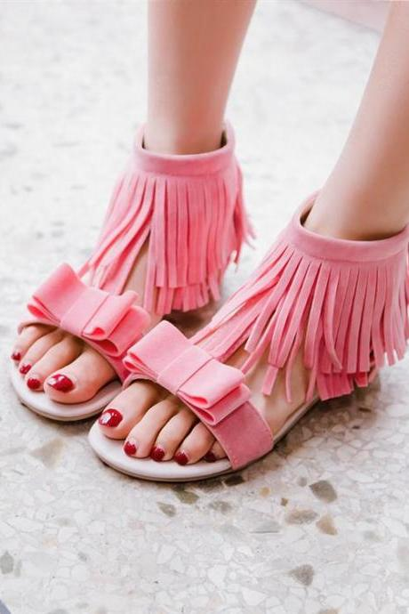 Bowknot Upper Zipper Fastenings Flat Sandals