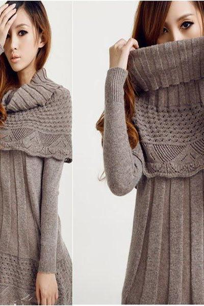 Winter Women Long Sleeve Dress Sweater With Cape Shawl