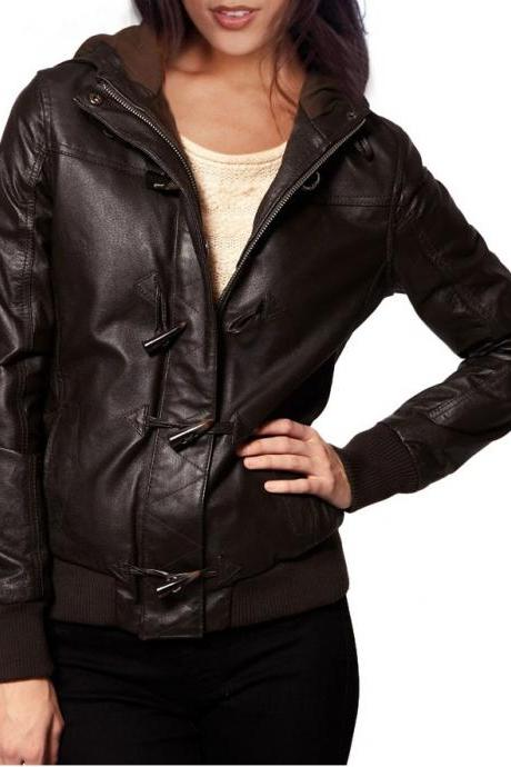 WOMENS BROWN COLOR LEATHER JACKET, HOODED LEATHER JACKET WOMEN, BIKER JACKET WOMEN