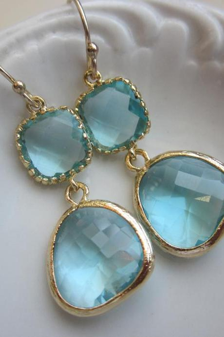 Aquamarine Earrings Gold Two Tier Blue Earrings - Bridesmaid Earrings Wedding Earrings
