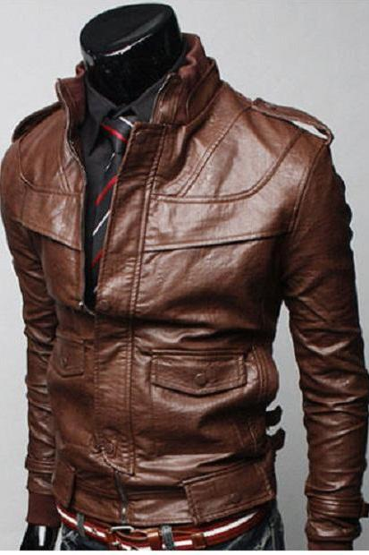 MEN BROWN COLOR LEATHER JACKET WITH RIB COLLAR, MENS SLIM FIT JACKET