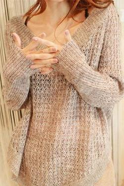 Fashion V-neck long-sleeved loose knit sweater #0952013AD