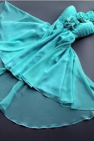 Pretty Light Blue One Shoulder High Low Bridesmaid Dress/Homecoming Dresses/Prom Dresses/Party Dresses