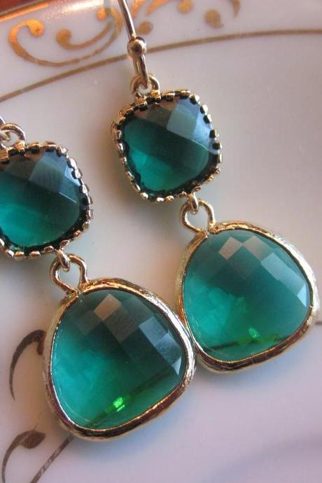 Emerald Green Earrings Gold Two Tier - Bridesmaid Earrings - Wedding Earrings - Bridal Earrings