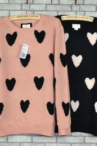 Heart Shaped Knitted Sweater / Pullover