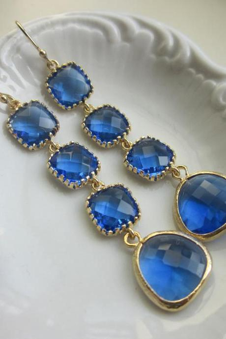 Cobalt Earrings Blue Gold Plated Earrings 4 tier - Bridesmaid Earrings - Wedding Earrings - Bridal Earrings