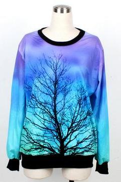 Tree Print Sweatshirt In Dip Dye