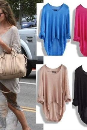 Batwing Casual Loose Asymmetric Sweater(OUT OF SALE)