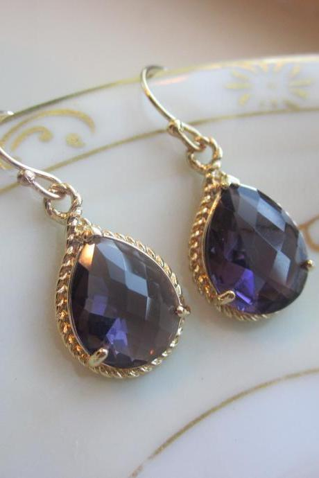 Amethyst Earrings Purple Gold Teardrop Pendant - Bridesmaid Earrings Wedding Earrings Bridal Earrings