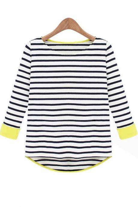 High-Low Curved Hem Long Sleeves Stripes T-Shirt