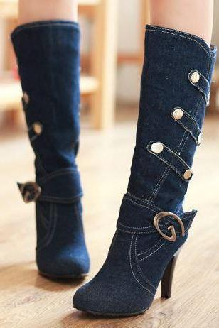 FREE SHIP Hot Knee High Denim High Heel Boots (3 Colors)