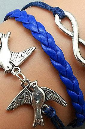 Infinity & Love Bird Bracelet Silver Bracelet Navy blue Wax Cords Leather Charm Bracelet Personalized Bracelet