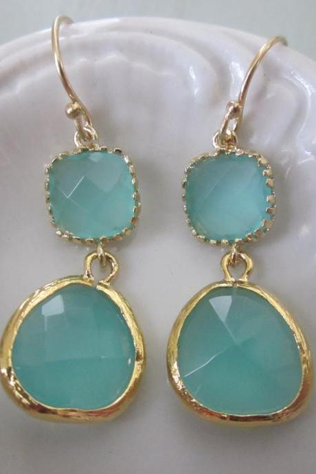 Aqua Blue Earrings Gold - Bridesmaid Earrings Wedding Earrings Bridal Earrings