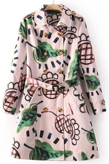 Designer Pretty Turndown Collar Printed Trench Coat For Autumn