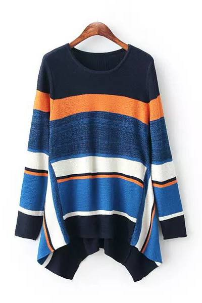 Cheap New Style O Neck Long Sleeves Strips Patchwork Blue Regular Pullover Sweater