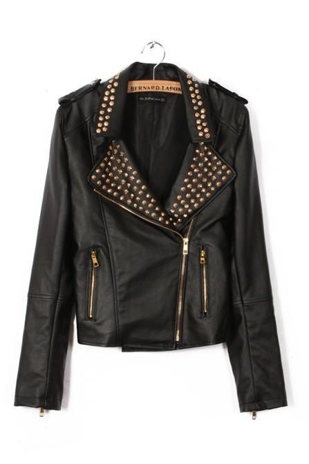 Fashion Rivet Long Sleeve PU Leather Jacket Coat