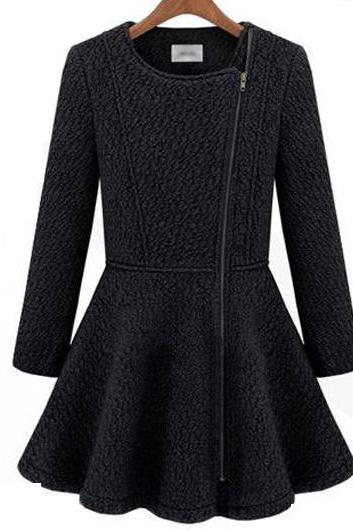 High Quality All Matched Long Sleeve Woolen Coat For Winter - Navy Blue