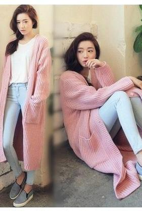 Two Pocket Long Knit Cardigan Sweater