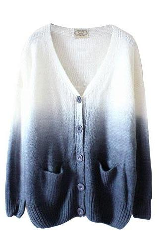 Blue Ombre Coloured Knit Long Sleeve Cardigan, Sweater