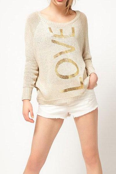 Love Print Knit Sweater