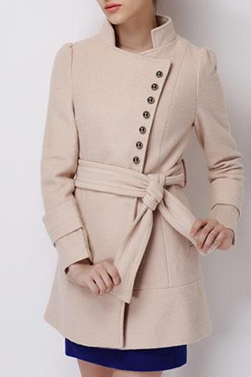 Vogue Long Sleeve Button Fly Autumn Coat - Apricot