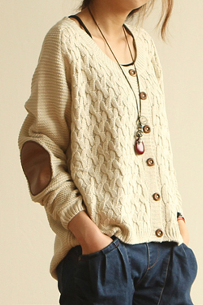 New Style O Neck Long Sleeve Regular White Sweater