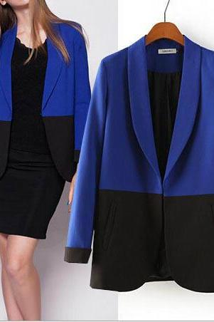 Women Autumn Winter Long Sleeve Casual Cardigan Mix Color Blazer Coat Outerwear