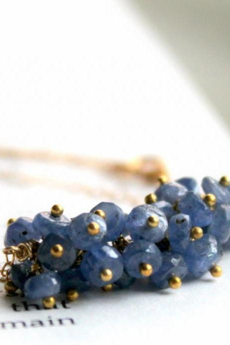 BLUEBERRY--Sapphire Cluster Gold Fill Necklace Something Blue