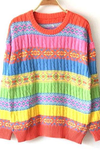 Retro Colorful Stripe Knit Sweater