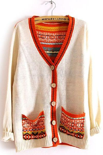 Retro Mixing Color Floral Print Knit Cardigan