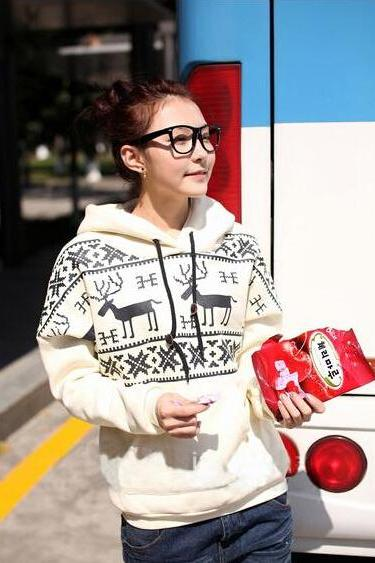 Women Long Sleeve Christmas Snow Deer Hoodie Sweater Coat Outerwear