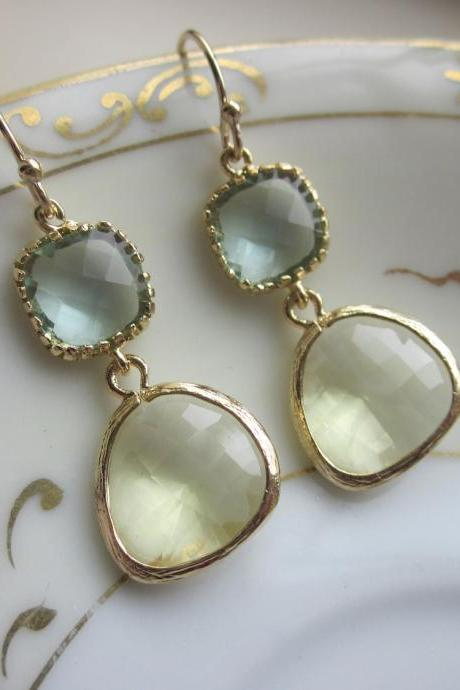 Citrine Earrings Prasiolite Glass Gold Plated - Bridesmaid Earrings - Bridal Earrings - Wedding Earrings