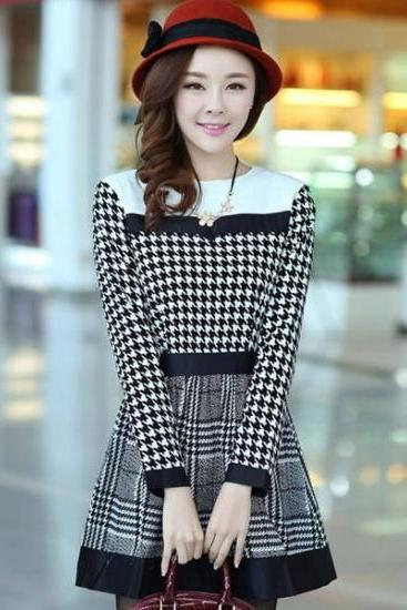 Elegant Houndstooth Print Color Block Stitching O-Neck Long Sleeve Dress