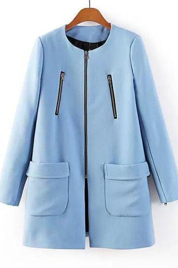 High Quality New Design Long Sleeve Blue Zip Fly Trench Coat - Blue
