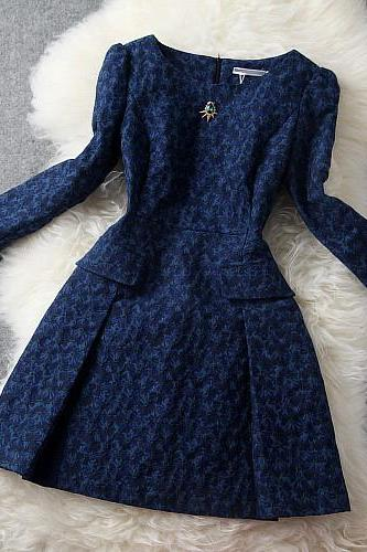 High Quality Vintage Diamond Embroidered Long Sleeve Dress
