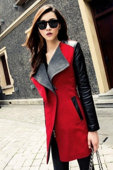 Red Fashion Long Coat Jacket PU Leather Sleeve Fashion Wool Coat For Women