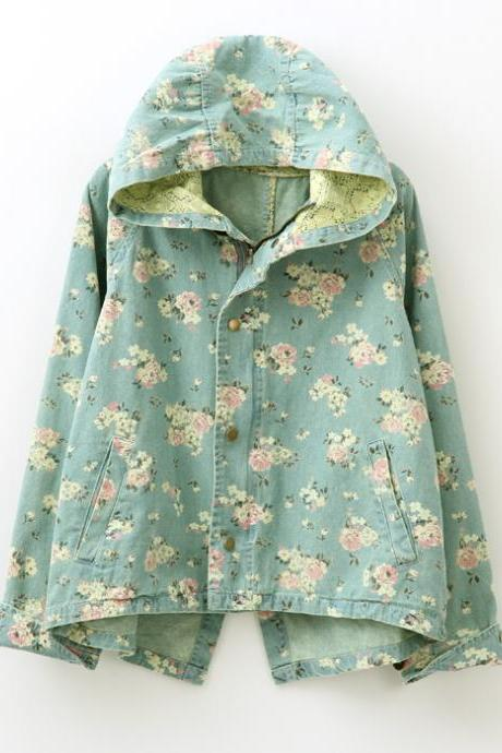 Vintage Roses Hooded Denim Jacket Coat