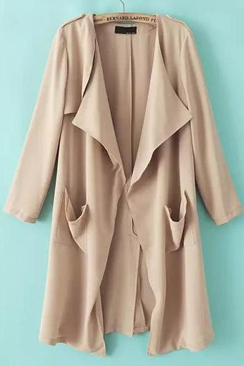 Women Casual Long Sleeve Beige Trench Coat - Beige