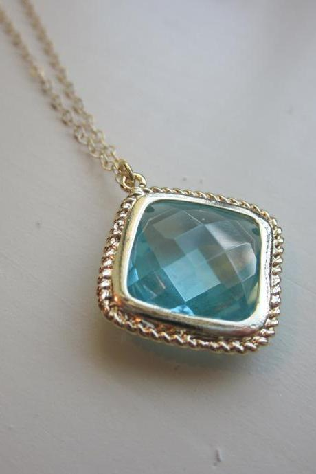 Aquamarine Necklace Gold Plated Aqua Large Diamond Pendant - Gold Filled Chain - Wedding Jewelry - Bridesmaid Jewelry - Bridesmaid Necklace