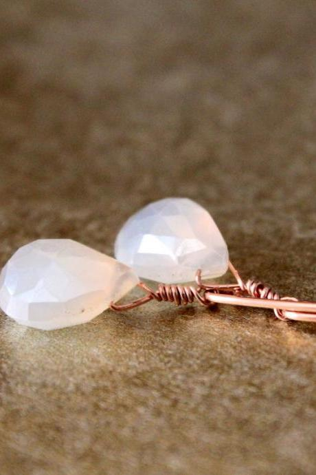 Pearl Chalcedony Rose Gold Earrings Long Marquise Wire