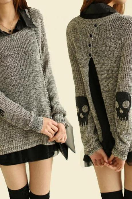 FashionTurndown Collar Long Sleeve Regular Pullovers Sweater