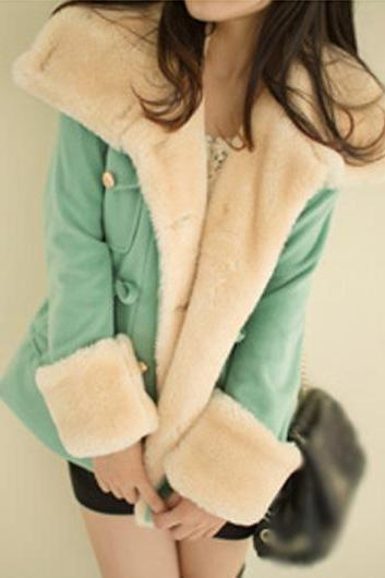 High Quality Long Sleeve Turndown Collar Woolen Coat - Green
