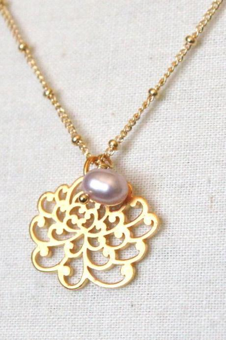 BODHISATTVA--Bali Gold Vermeil Chrysanthemum and Freshwater Pearl Necklace