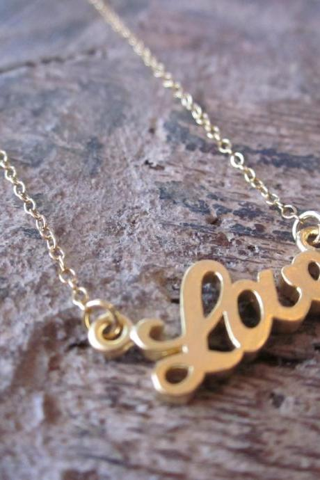 Gold Love Bracelet Charm - 14k Gold Filled Chain - Bridesmaid Bracelet - Wedding Jewelry