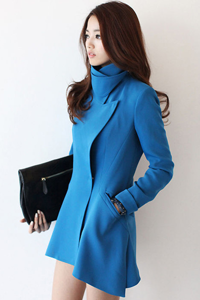 New Style Turndown Collar Long Sleeves Single-breasted Pockets Designed Blue Long Wool Coat