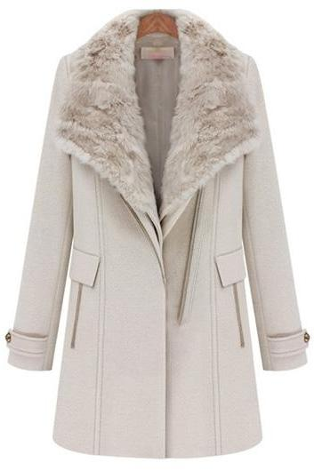 Vogue Long Sleeve Turndown Collar Winter Coat - Beige