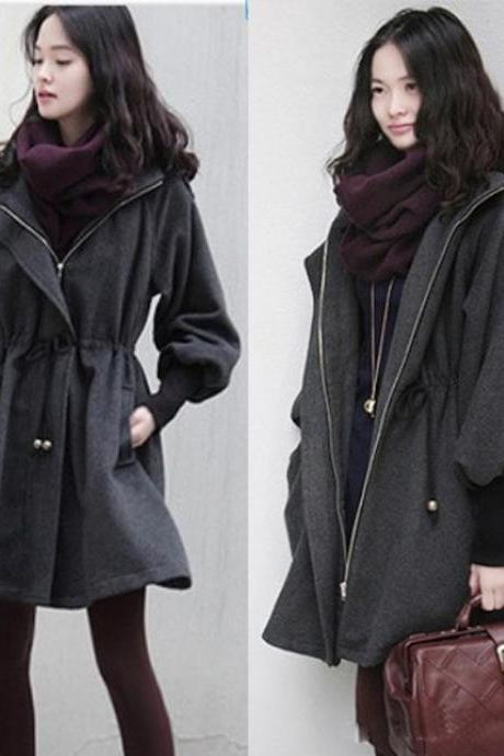 Fashion Hooded Overcoat Woolen Coat Adjustable Waist