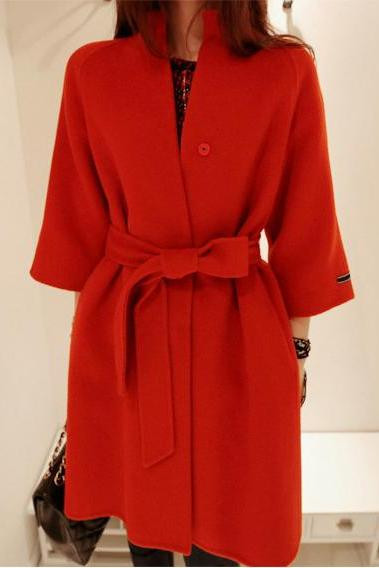 Winter Long Wool Coat With Belt